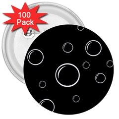 Black and white bubbles 3  Buttons (100 pack)