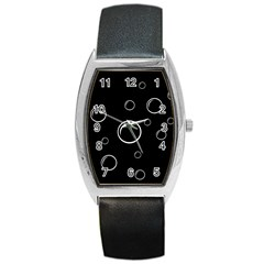 Black and white bubbles Barrel Style Metal Watch
