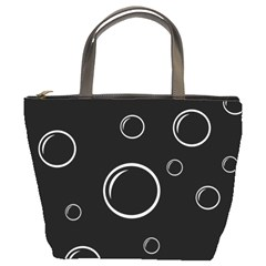 Black and white bubbles Bucket Bags