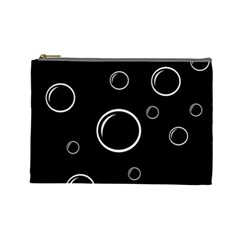 Black and white bubbles Cosmetic Bag (Large)