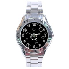 Black and white bubbles Stainless Steel Analogue Watch