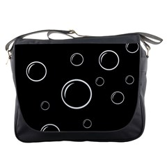 Black and white bubbles Messenger Bags
