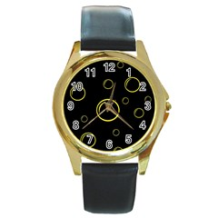 Yellow bubbles Round Gold Metal Watch