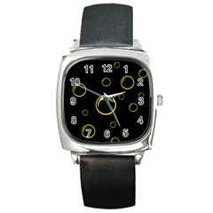 Yellow bubbles Square Metal Watch