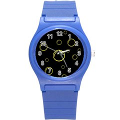 Yellow bubbles Round Plastic Sport Watch (S)