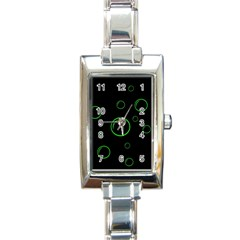 Green buubles pattern Rectangle Italian Charm Watch