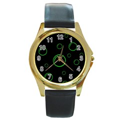 Green buubles pattern Round Gold Metal Watch
