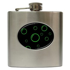 Green buubles pattern Hip Flask (6 oz)