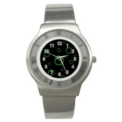 Green buubles pattern Stainless Steel Watch