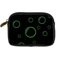 Green buubles pattern Digital Camera Cases