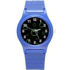 Green buubles pattern Round Plastic Sport Watch (S)