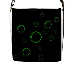 Green buubles pattern Flap Messenger Bag (L)