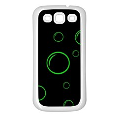 Green buubles pattern Samsung Galaxy S3 Back Case (White)