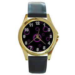 Purple bubbles  Round Gold Metal Watch