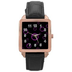 Purple bubbles  Rose Gold Leather Watch