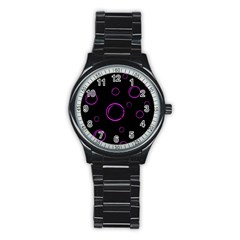 Purple bubbles  Stainless Steel Round Watch