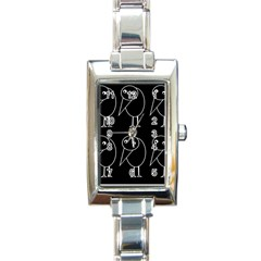 Black and white birds Rectangle Italian Charm Watch
