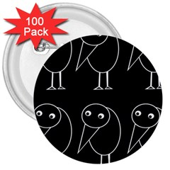 Black and white birds 3  Buttons (100 pack)