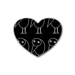 Black and white birds Heart Coaster (4 pack)