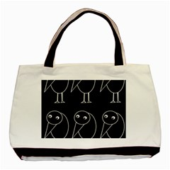 Black and white birds Basic Tote Bag (Two Sides)
