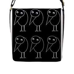 Black and white birds Flap Messenger Bag (L)
