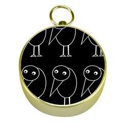 Black And White Birds Gold Compasses