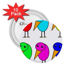 Colorful birds 2.25  Buttons (10 pack)