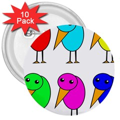 Colorful birds 3  Buttons (10 pack)