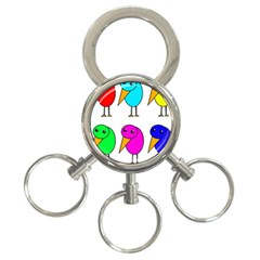 Colorful birds 3-Ring Key Chains