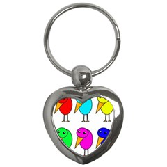 Colorful birds Key Chains (Heart)