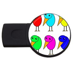 Colorful birds USB Flash Drive Round (1 GB)