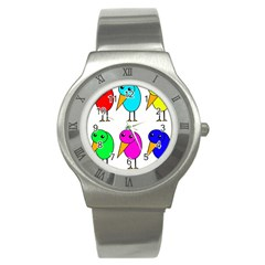 Colorful birds Stainless Steel Watch