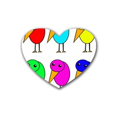 Colorful birds Heart Coaster (4 pack)