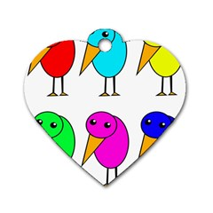 Colorful birds Dog Tag Heart (Two Sides)