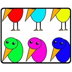 Colorful birds Fleece Blanket (Medium)