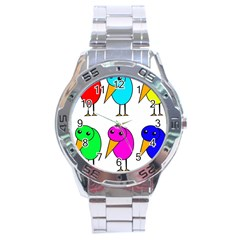 Colorful birds Stainless Steel Analogue Watch