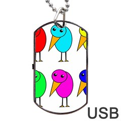 Colorful birds Dog Tag USB Flash (Two Sides)