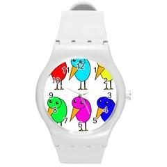 Colorful birds Round Plastic Sport Watch (M)