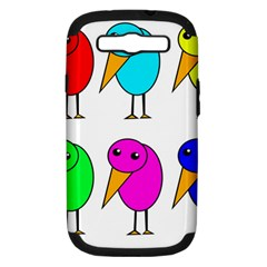 Colorful birds Samsung Galaxy S III Hardshell Case (PC+Silicone)