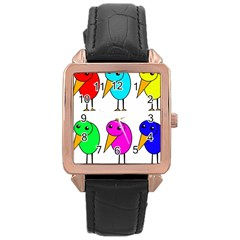 Colorful birds Rose Gold Leather Watch