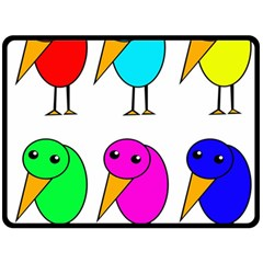 Colorful birds Double Sided Fleece Blanket (Large)