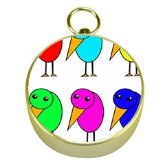 Colorful birds Gold Compasses