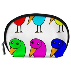 Colorful birds Accessory Pouches (Large)