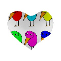 Colorful Birds Standard 16  Premium Flano Heart Shape Cushions