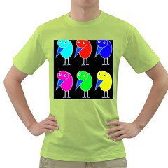 Colorful birds Green T-Shirt
