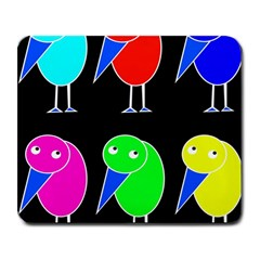 Colorful birds Large Mousepads