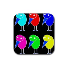 Colorful birds Rubber Square Coaster (4 pack)
