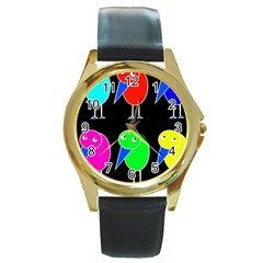 Colorful birds Round Gold Metal Watch