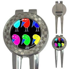 Colorful birds 3-in-1 Golf Divots
