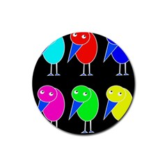Colorful birds Rubber Round Coaster (4 pack)